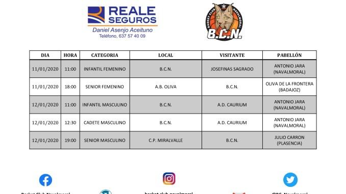 Horarios partidos del Basket Club Navalmoral 11-12 Enero 2020