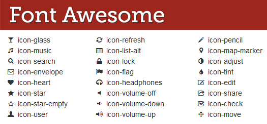 Font Awesome icons and their CSS content values