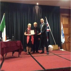 Pat getting Trophy in Dubhlinn