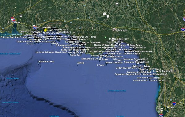 Northwest Florida Reef Coordinates