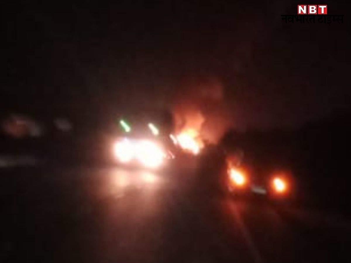 Rajasthan News: Truck full of lpg gas cylinders across Jaipur-Ajmer highway plta visphot Se Traffic jam: 5 km long traffic jam on Jaipur-Ajmer highway today.