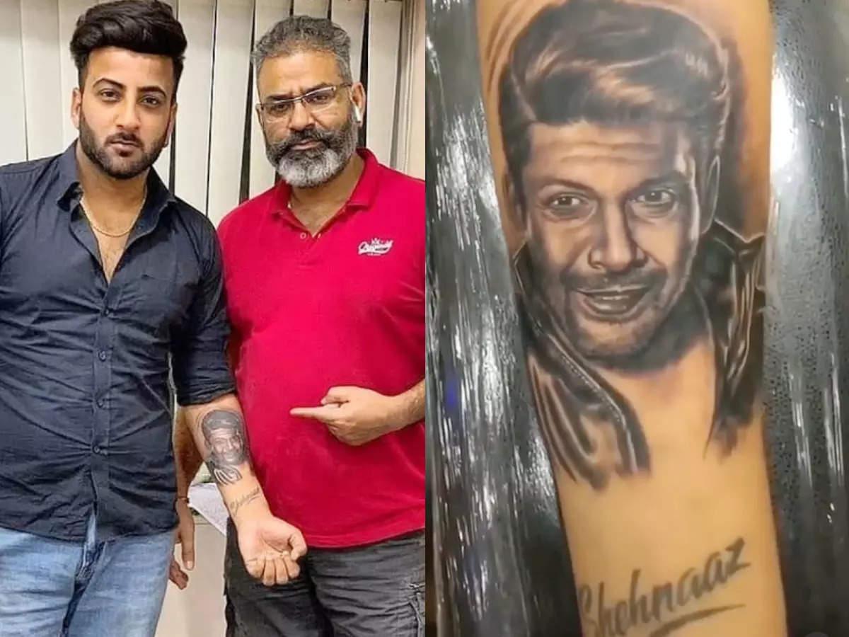 Shehbaz Badesha gets tattoo on Siddharth Shukla's face: Shehnaz Gill's brother Shehbaz Badsha gets hand ink on Siddharth Shukla's face says you will always be with me