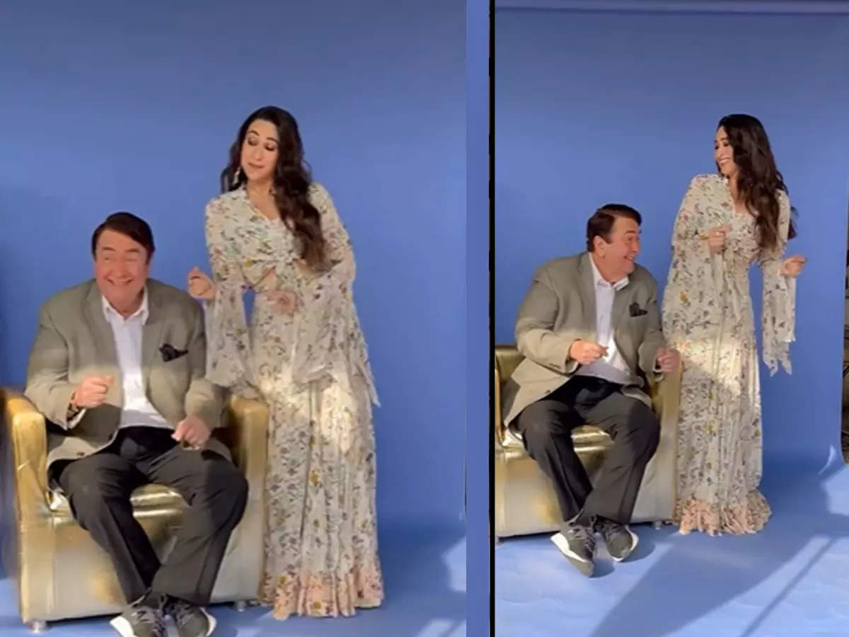 Karisma Randhir Kapoor BTS Video: Karisma Kapoor Dancing With Daddy Randhir Kapoor BTS Video Viral: Daddy Randhir Kapoor Dancing With Girl Karisma On Sofa, BTS Video Viral