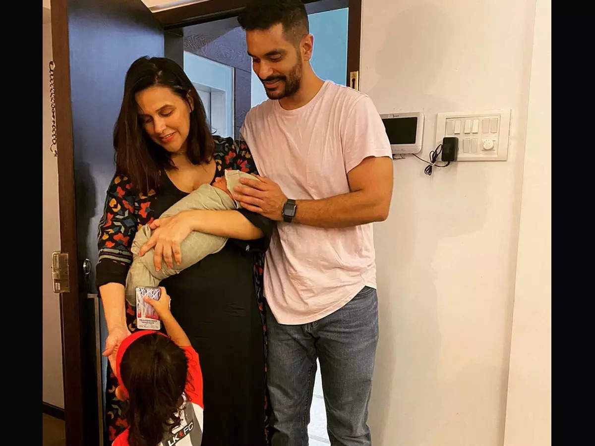 Neha Dhupia Angad Bedi First photo of baby: Neha Dhupia shared her first glimpse of her son, Angad Bedi and daughter Mehr appeared together