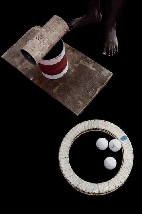 Juggling balls, rings and balance board.