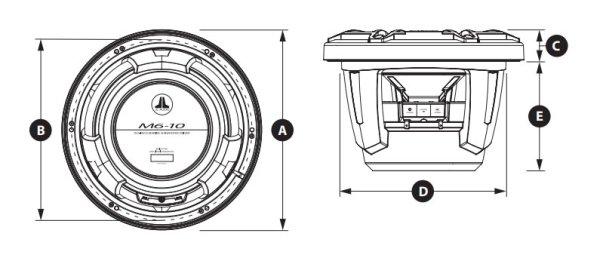 JL Audio M6-10IB Marine Subwoofer Abmessungen