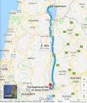 Following Jesus - day 1 walk - map alone in miles