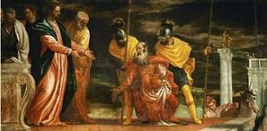 Centurion asking Jesus to heal his servant