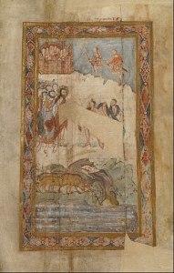 pigs running into water and two men meet jesus in gadarene