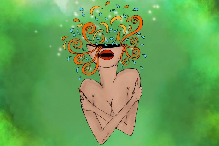 An illustration of a woman's upper body with curls and sparks coming out of her head representing why self-love and self confidence is important