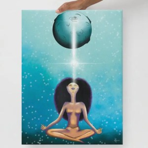An Afro woman channeling the moon during a full moon ritual