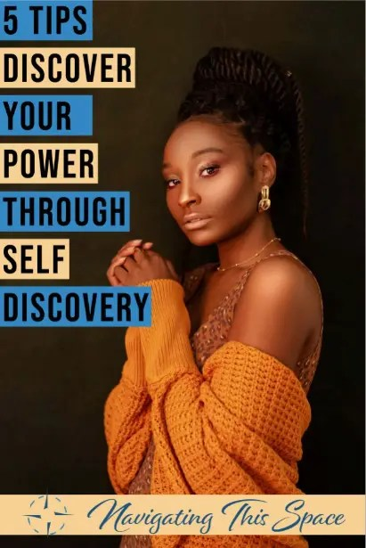 Woman wearing a crotchet sweater poses ehile discovering her power through self discovery