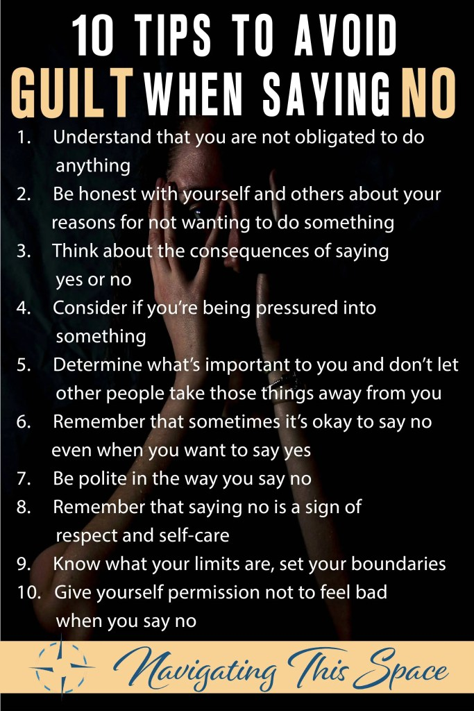 10 Tips to avoid guilt when saying no
