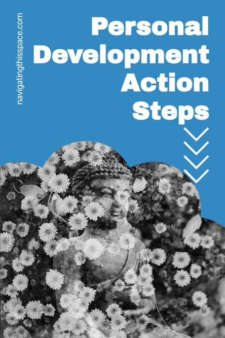 personal development action steps. Buddha's statue surrounded by falling flowers