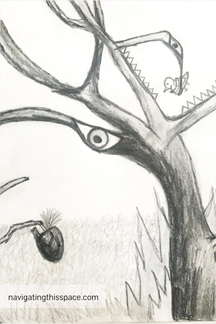 a hand drawing of a tree monster eating a bird