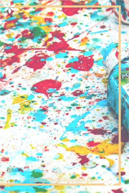 paint splatter on a journal page expressing creativity