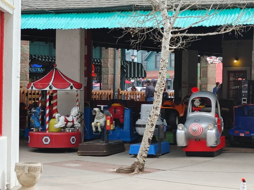 small kiddie rides near the Penny Arcade
