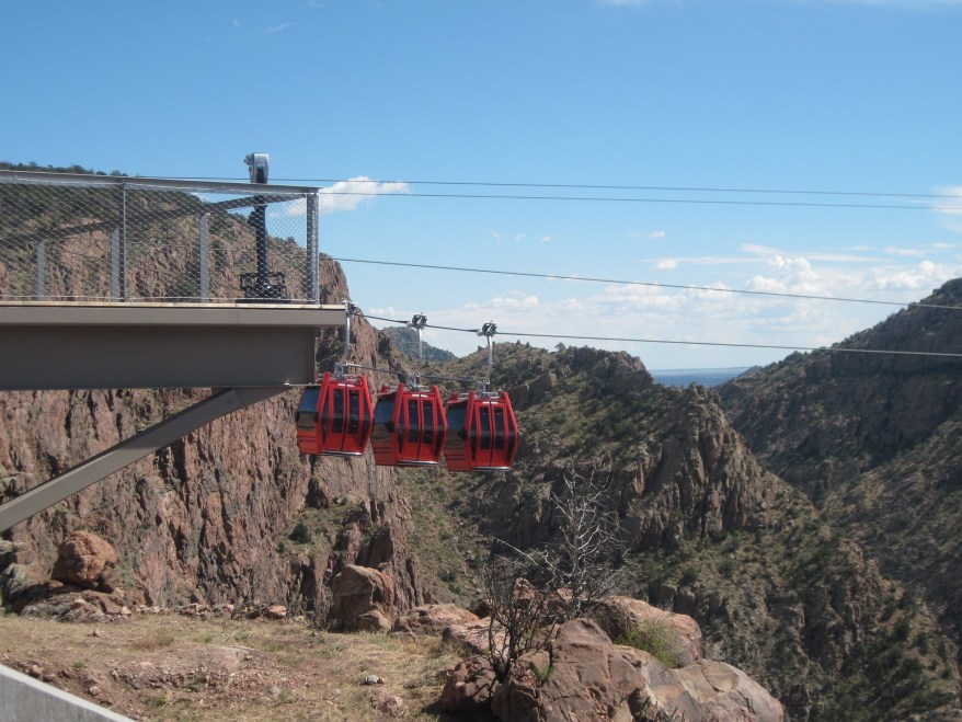 the gondoloas at the royal gorge bridge & park, Cañon City  with kids