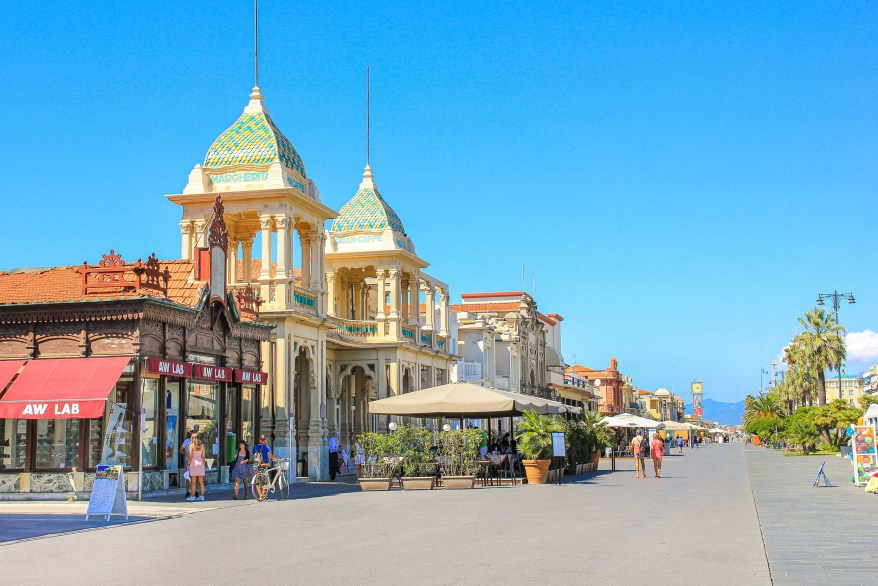 promenade in Viareggio, colorful buildings, family friendly cities in Italy