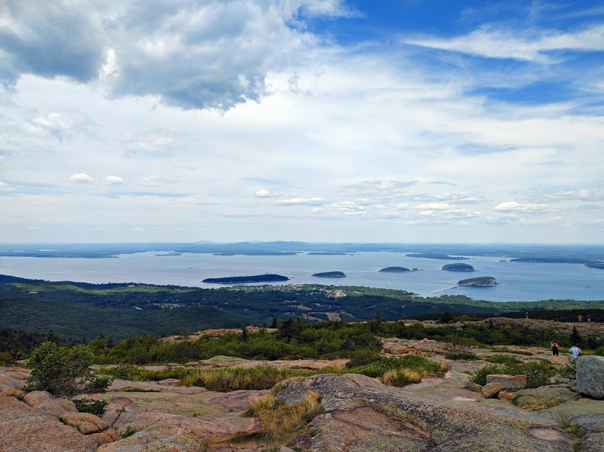 view of bar harbor from the cadillac mountain summit