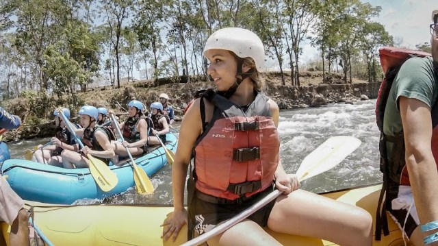Young women Whitewater Rafting the, Balsa River in Costa Rica