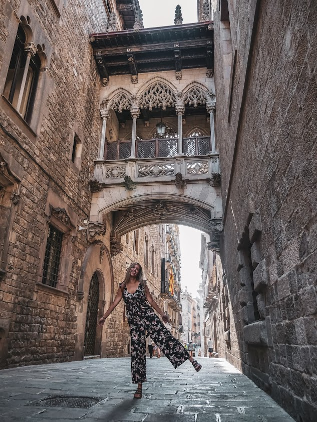 Person in Gothic Quarter, Spain, Barcelona