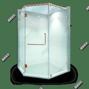 Phòng tắm kính 135 độ phụ kiện màu vàng hồng
