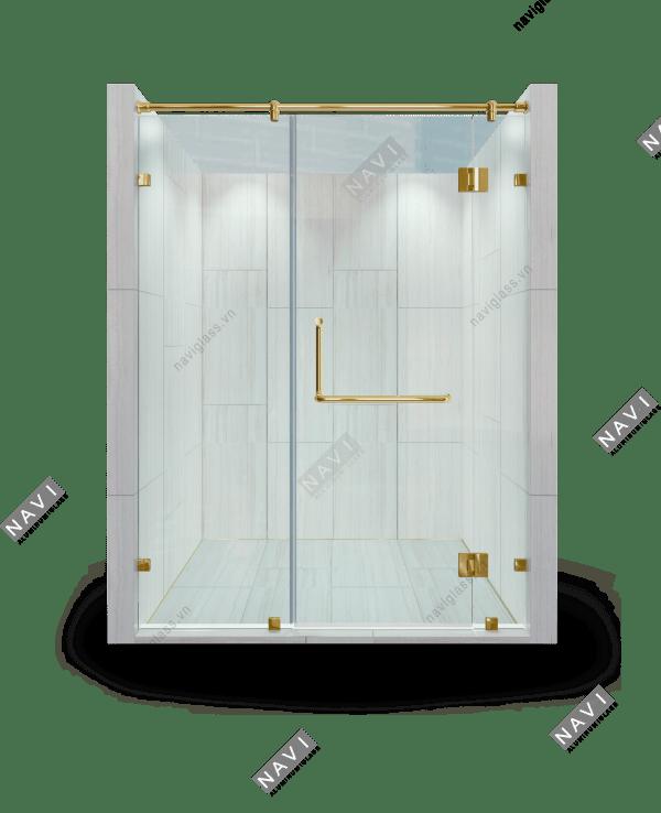 Phòng tắm kính 180 độ phụ kiện màu vàng
