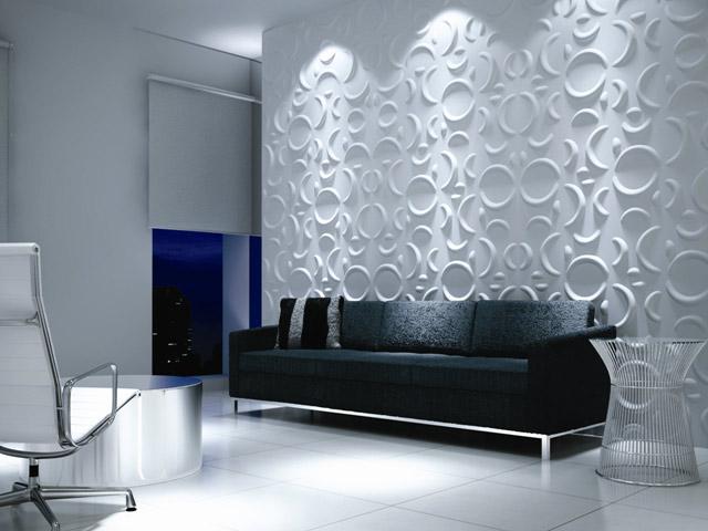 Фото оформленной стены  панелями 3D