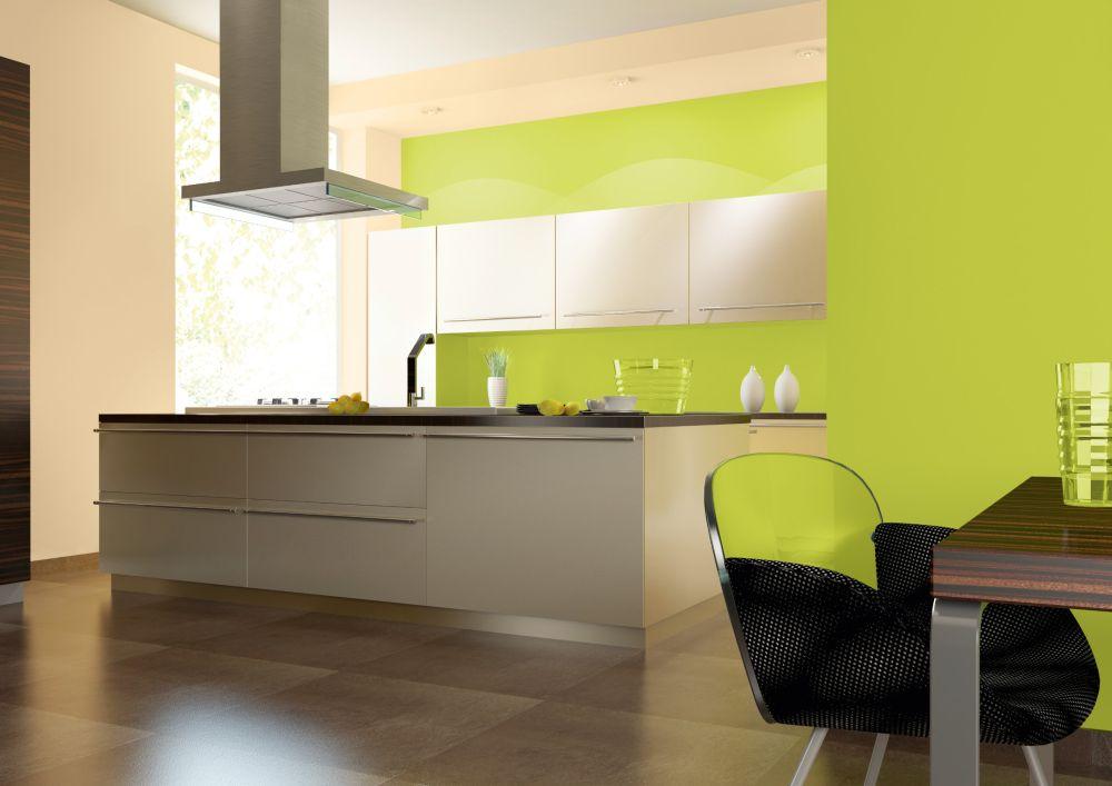 Интерьер кухни в зеленом выполнена краской Dekoral