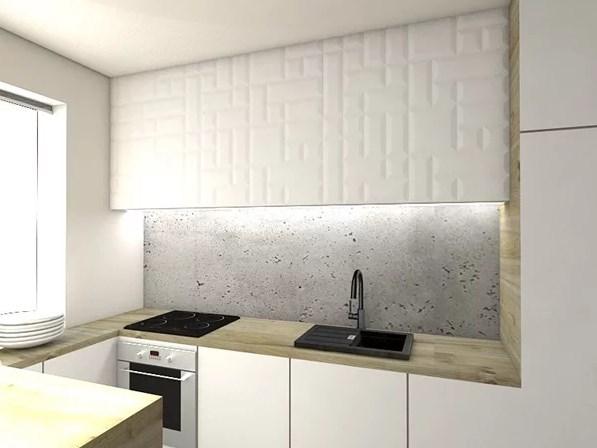 Интересного эффекта удалось достичь путем использования панелей на верхнем шкафчике и стене за раковиной.