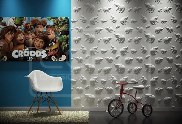 Интересным решением для детской комнаты может бытьсочетание белого узора с цветной краской Фото
