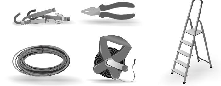 Материалы и инструменты для монтажа гирлянд