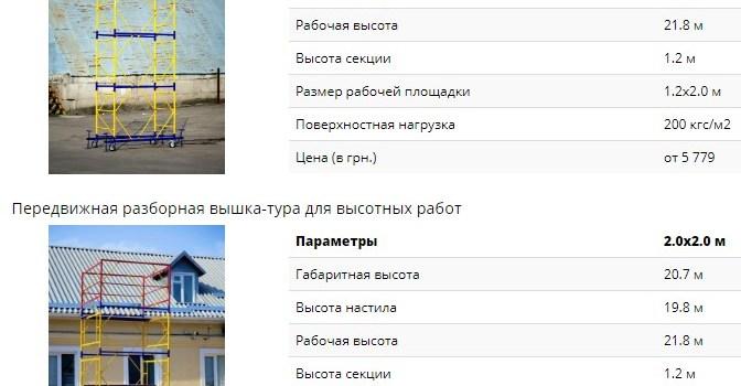 Вышки туры строительные и алюминиевые, купите с доставкой в Киеве