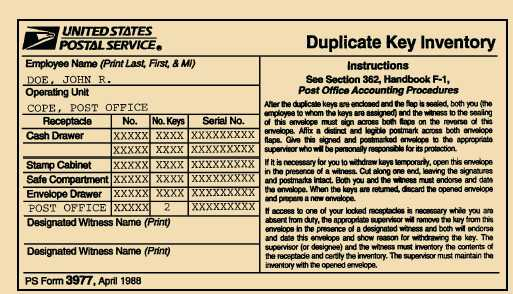 Figure 2 8 An Example Of A Duplicate Key Envelope PS Form 3977