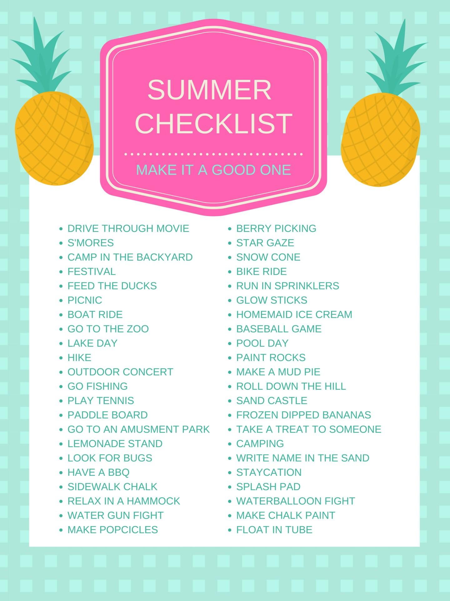Summer Bucketlist, Summer Checklist
