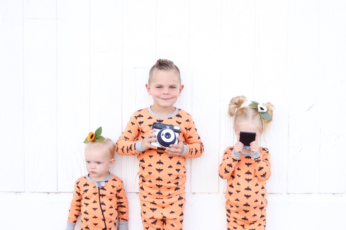 FUJIFILM Instax SQ6 Camera, kids in Burts bee's PJ's, fall clothes, halloween, halloween jammies