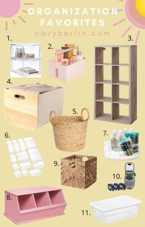 collage of organizing bins and items for organizing your home in the new year