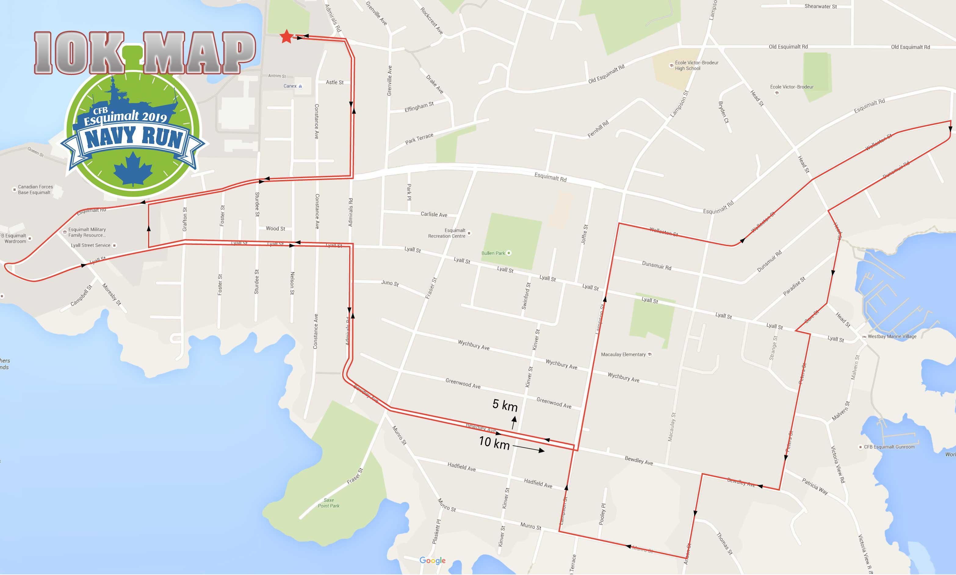 Esquimalt Navy Run 2019 10 km route map