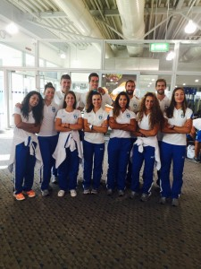 Η εθνική ομάδα παράκτιας κωπηλασίας κατα την αναχώρηση της αποστολής στο αεροδρόμιο Ελευθέριος Βενιζέλος.