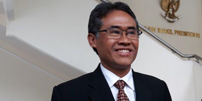 Panut Mulyono usai menemui JK di Kantor Wapres, Jalan Medan Merdeka Utara, Kamis (12/4/2018).