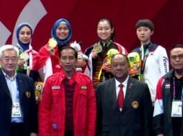 Presiden RI Jokowidodo Saat Hadiri Final Taekwondo Asian Games 2018