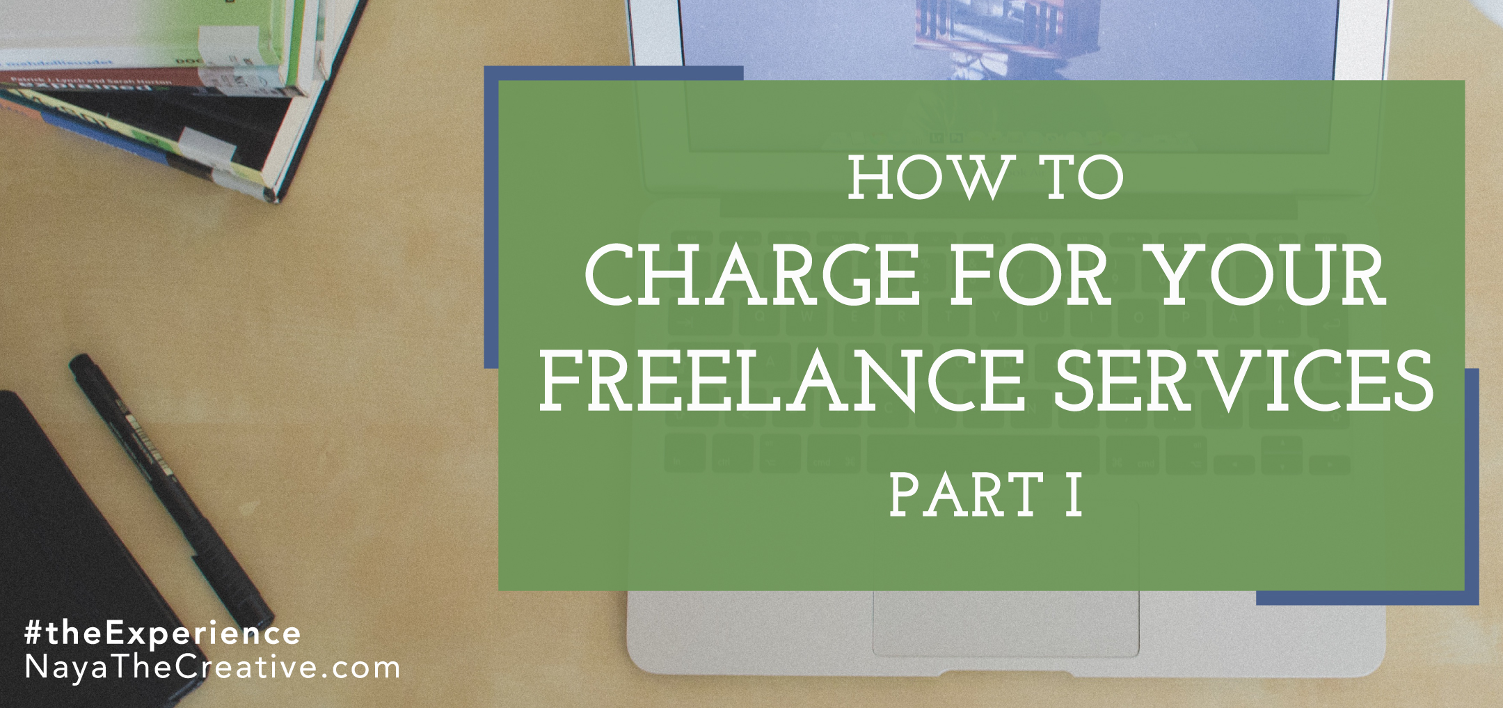 How to Charge for your services hero image with laptop and books in background