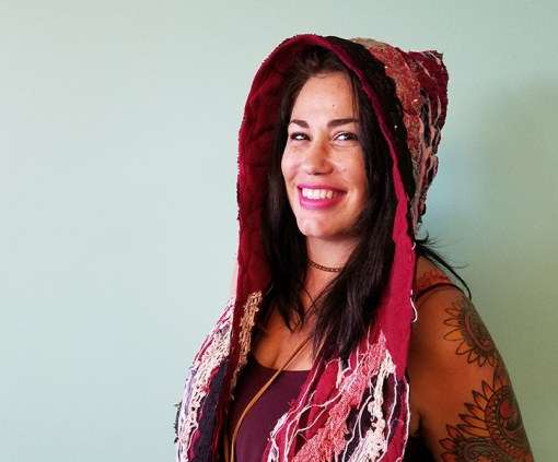 Nayeli Clothing: Sliced hooded-scarf-red-pink-feathers