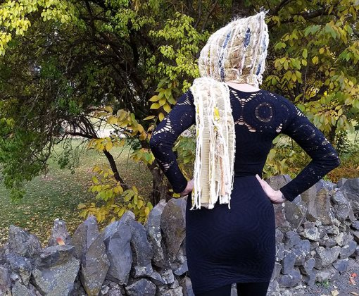 Nayeli Clothing: Sarah-blonde-yellow-feathers-hooded-scarf