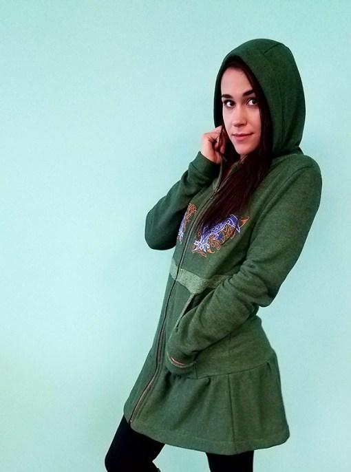 Nayeli Clothing. Hemp Hoodie with Raven