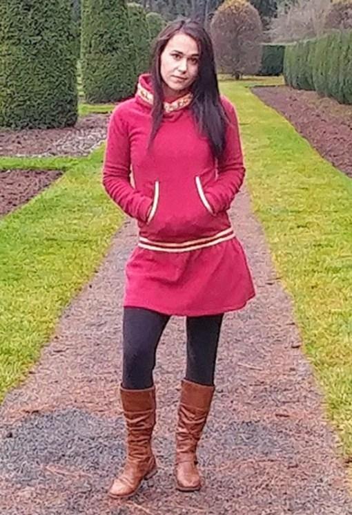 cranberry colored kuspuk at Nayeli Clothing
