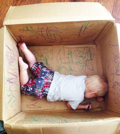 Parenting tip - kid in empty box