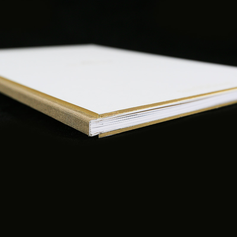 Custom Exposed Spine Case Binding with Gold Edge Boards