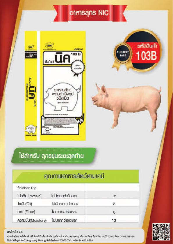 ผลิตภัณฑ์อาหารสุกร NIC pig 103ฺฺB